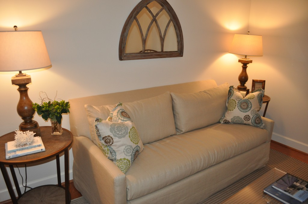 Den: In order to transform this den into another bedroom, we selected this great sleeper sofa.