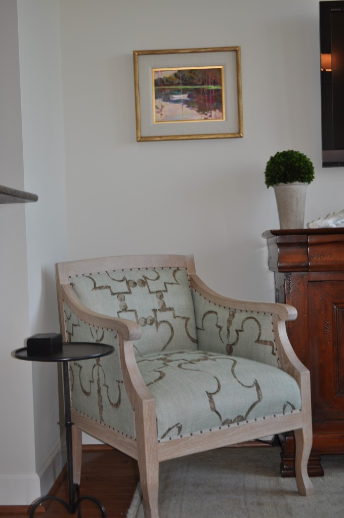 Verellen chair upholstered in Osborne & Little fabric